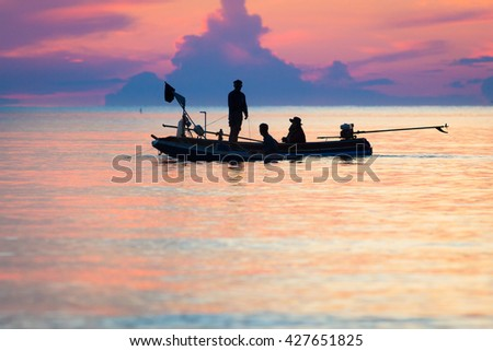 fisherman with boat in morning ,Thailand