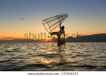 Fishermen at Inle Lake, Shan State, Myanmar - stock photo
