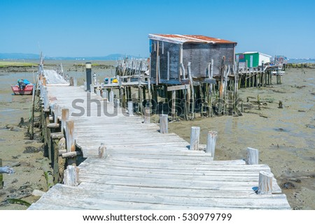 Fishermen docks at Cais Palafitico da Carrasqueira, Alentejo, Portugal, July-09-2016