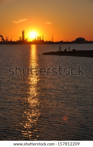 Fishermen under the Sunset; Texas City, Texas