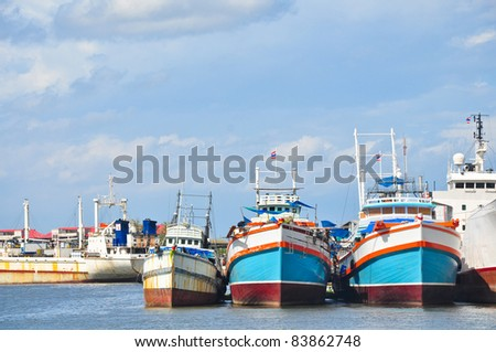 Fishery boat dock in Thailand