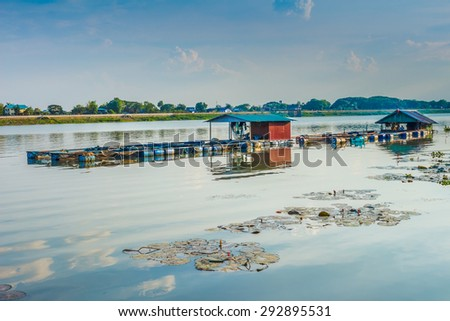 Fishery in the river, thailand - stock photo