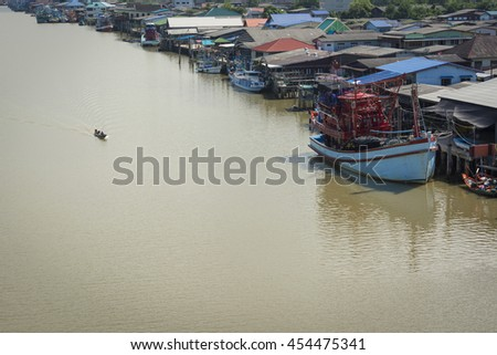 Fishery village in Thailand. - stock photo