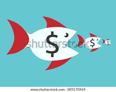Fishes with dollar signs eating smaller ones. Food chain, finance, money, competition, merger, business, monopoly concept - stock photo