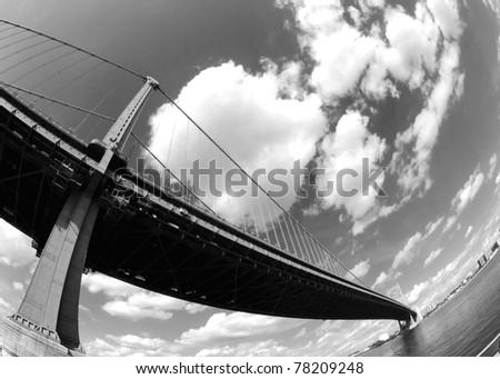 Fisheye Ben Franklin Bridge, Philadelphia - stock photo