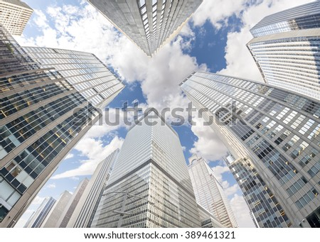 Fisheye lens photo of skyscrapers in Manhattan, New York City, USA.