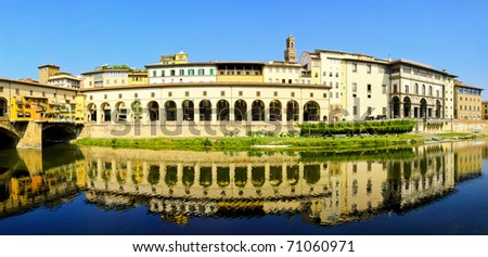 Fisheye panorama of old city Florence at Arno river - stock photo