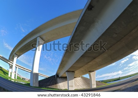 Fisheye perspective of South Florida expressways.