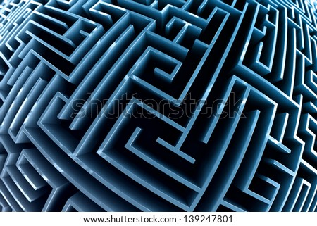 Fisheye style picture of a maze with blue walls. - stock photo