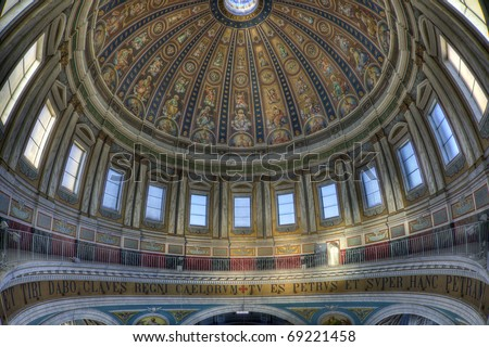 Fisheye view in basilica in Oudenbosch, Netherlands, which is a small replica of St Peters cathedral in Rome - stock photo