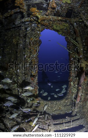 fisheye view of a doorway on the inside of USCG Cutter Duane in Key Largo, Florida - stock photo