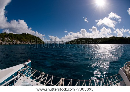 Fisheye view of a sailboat in the Caribbean from another boat