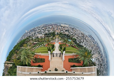 Fisheye view of Haifa and Bahai Gardens with Shrine of the Bab from Mount Carmel, Israel - stock photo