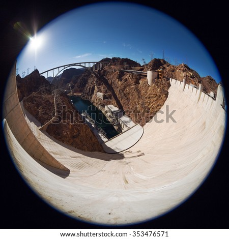 Fisheye view of Hoover Dam. Hoover Dam in the Black Canyon of the Colorado River, between the US states of Arizona and Nevada. Downstream from the Hoover Dam. Wide Angle Panorama of Hoover Dam  - stock photo