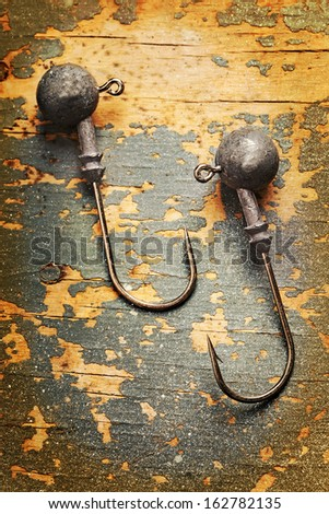 fishhooks close up vertical picture - stock photo