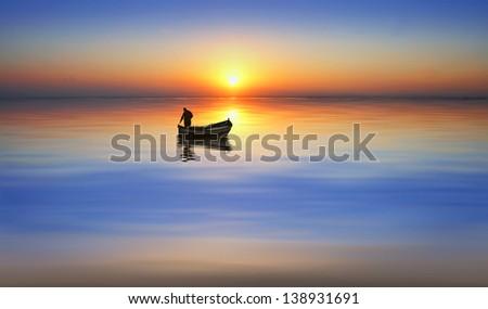 Fishing a sun - stock photo