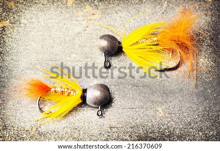 fishing accessories close up . - stock photo