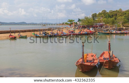 Fishing and long tail boat in Rayong bay, Thailand - stock photo