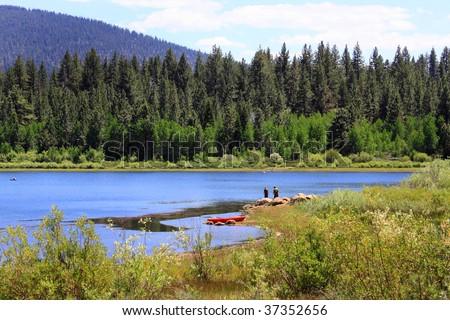 Fishing at Spooner Lake near Lake Tahoe - stock photo