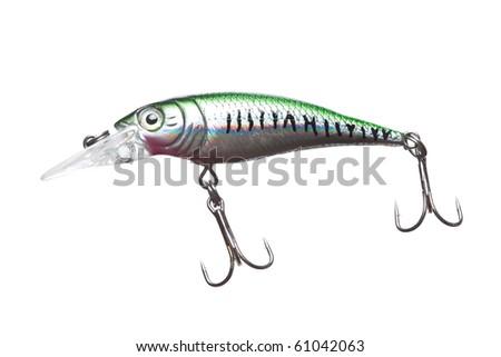 Fishing bait wobbler isolated on white. - stock photo