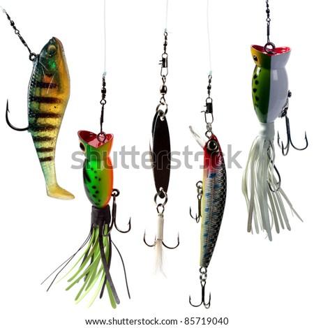 Fishing baits isolated on white background. Set. - stock photo