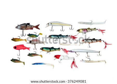 Fishing baits isolated on white background, top view - stock photo