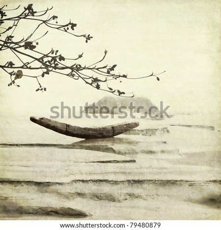 Fishing Boat and Almond Tree Textured Art Background Chinese Style - stock photo