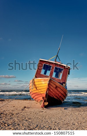 Fishing Boat at german Baltic Sea Coast of Usedom Island - stock photo