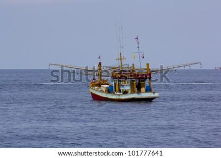 Fishing Boat at Kuraburi  in Thailand - stock photo