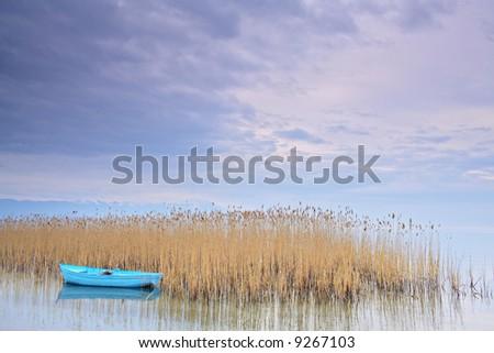 Fishing boat at lake Ohrid Macedonia - stock photo