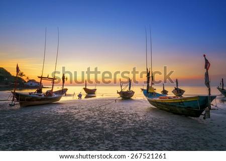 Fishing boat at Rayong beach ,Thailand - stock photo