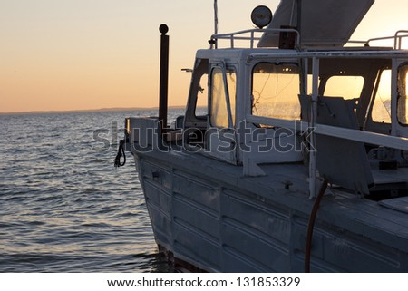 fishing boat at sea - stock photo