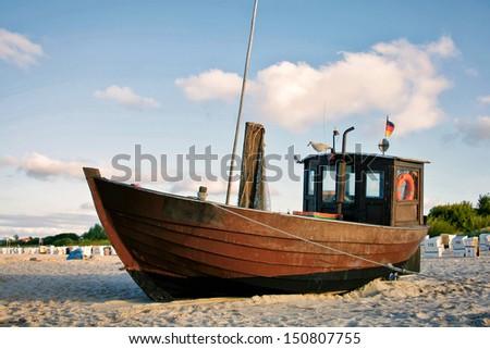Fishing Boat at the Beach of Usedom Island, Germany - stock photo