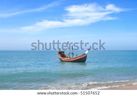 Fishing boat at the shore of the Saint Martins Island of Bangladesh