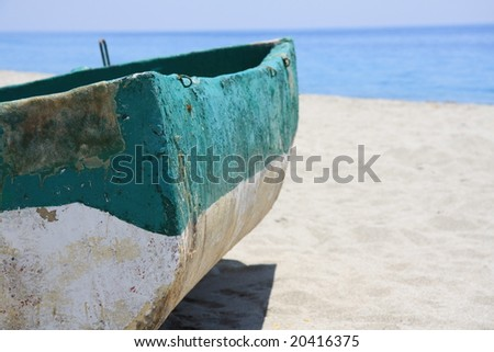 Fishing boat detail on a Calabria beach, Italy