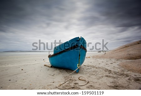 fishing boat gloomy weather - stock photo