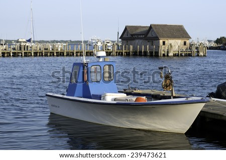 fishing boat in bay harbor marina Montauk New York USA Atlantic Ocean in the Hamptons