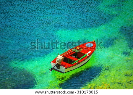 Fishing boat in Kefalonia island, Greece - stock photo
