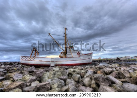 Fishing boat in Keflavik,Iceland - stock photo