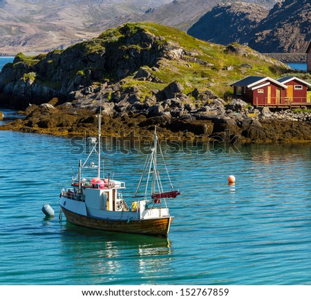 Fishing boat in Norway - stock photo