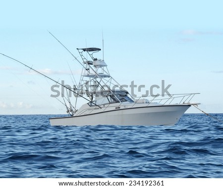 Fishing Boat in Ocean - stock photo