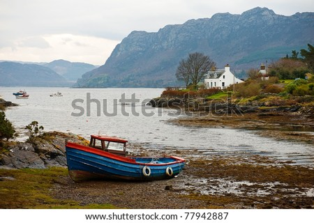 Fishing boat in Scotland - stock photo