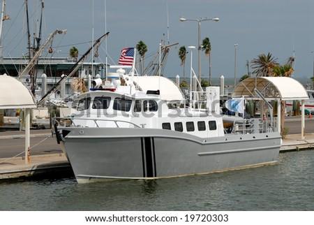 Fishing boat in the harbor of Corpus Christi, Texas USA - stock photo