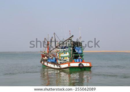 fishing boat in the sea - stock photo