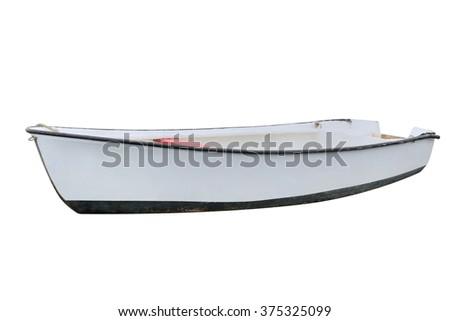 fishing boat Isolated on white background - stock photo