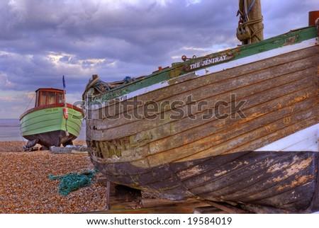 Fishing boat, Lydd, Kent South coast England - stock photo