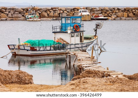 Fishing boat on an inlet of the Aegean Sea near Troy in Turkey