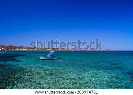 Fishing Boat on Kefalos coast Greece - stock photo