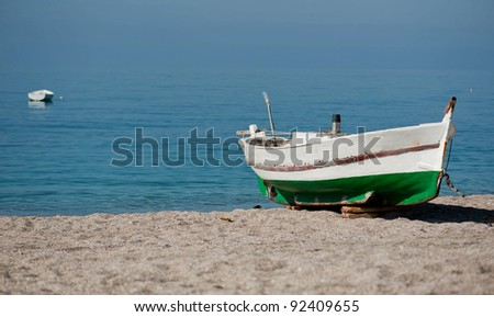 Fishing boat on the water - stock photo