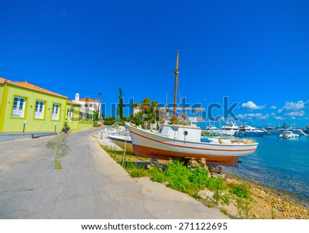 fishing boat out of the sea in Spetses island in Greece - stock photo
